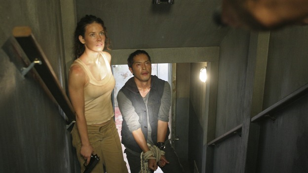 "LOST - ""Eggtown"" - Kate's need to get information out of the hostage may jeopardize her standing with Locke -- as well as with Sawyer -- on ""Lost,"" THURSDAY, FEBRUARY 21 (9:00-10:02 p.m., ET) on the ABC Television Network. (ABC/MARIO PEREZ)EVANGELINE LILLY, KEN LEUNG"
