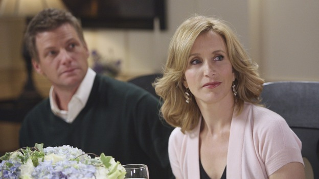 "DESPERATE HOUSEWIVES - ""No Fits, No Fights, No Feuds"" - Tom and Lynette at Bree's dinner party, on ""Desperate Housewives,"" SUNDAY, JANUARY 7 (9:00-10:01 p.m., ET) on the ABC Television Network. (ABC/DANNY FELD) DOUG SAVANT, FELICITY HUFFMAN"