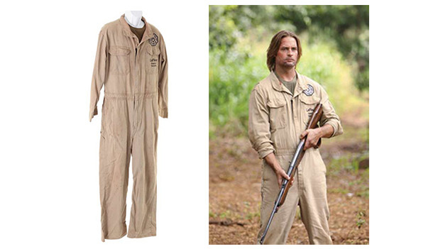 "Sawyer's DHARMA jumpsuit from the episode,""LaFleur"" Sawyer's distressed khaki DHARMA jumpsuitwith patch, embroidered with ""LaFleur Head of Security"" andolive green long sleeve shirt. Worn in the episode, ""LaFleur.""Related content:EPISODE RECAP - ""LaFleur""PHOTOS - ""LaFleur"""