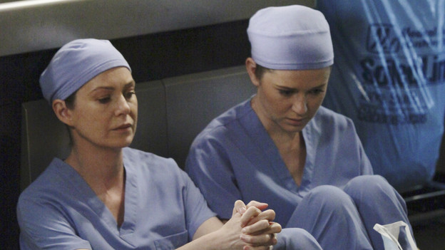GREY'S ANATOMY - ABC's &quot;Grey's Anatomy&quot; concludes the season with a two-hour shocker, THURSDAY, MAY 20. In the first hour, entitled &quot;Sanctuary&quot; (9:00-10:00 p.m., ET), Seattle Grace Hospital is hit with a crisis like no other in its history. Then, in the second hour, &quot;Death and All His Friends&quot; (10:00-11:00 p.m., ET), Cristina and Meredith's surgical skills are put to the ultimate test. (ABC/DANNY FELD)ELLEN POMPEO, SARAH DREW