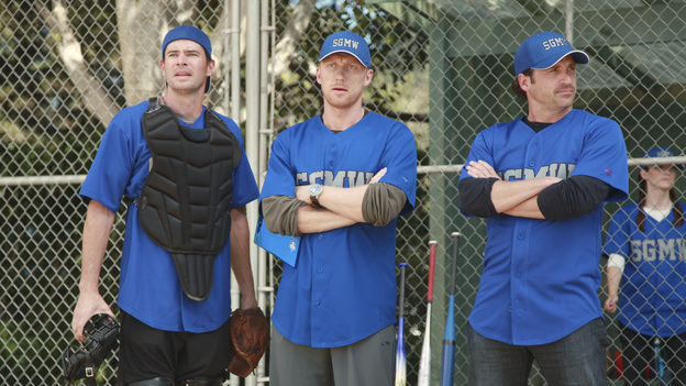 "GREY'S ANATOMY - ""Put Me In, Coach"" - Owen stresses teamwork and moves his leadership role over to the baseball field when he signs the doctors up for a baseball league, pitting them against their biggest competition, Seattle Presbyterian; Lexie tries to hide her jealous rage when she sees Mark with a new woman, but her emotions get the better of her; Alex fights to keep Zola at Seattle Grace after it is suggested that she be moved to another hospital due to a conflict of interest with Meredith and Derek; and Richard scolds Meredith and Bailey for their feud, on Grey's Anatomy, THURSDAY, OCTOBER 27 (9:00-10:02 p.m., ET) on the ABC Television Network. (ABC/RICHARD CARTWRIGHT)SCOTT FOLEY, KEVIN MCKIDD, PATRICK DEMPSEY"
