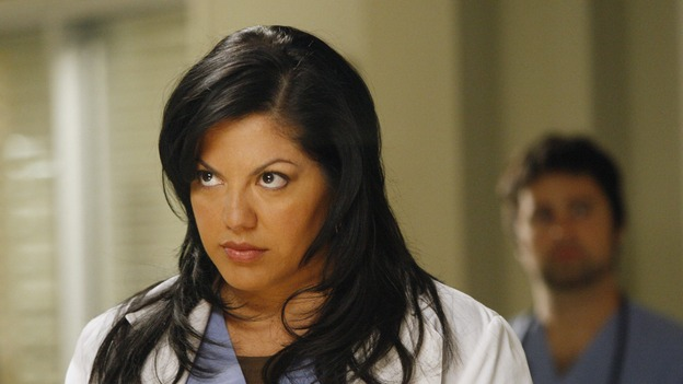 "GREY'S ANATOMY - ""The Becoming"" - The nurses' objections to McSteamy's trysts lead to the instating of a new ""date and tell"" policy. Meanwhile news of Burke's latest career achievements force Cristina to face her feelings for her ex, Meredith and Derek admit a veteran soldier into their clinical trial, and Callie turns to Sloan in her time of need, on ""Grey's Anatomy,"" THURSDAY, MAY 8 (9:00-10:02 p.m., ET) on the ABC Television Network.  (ABC/VIVIAN ZINK)SARA RAMIREZ"