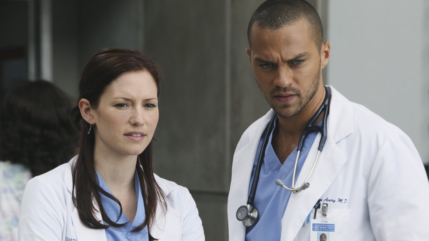 "GREY'S ANATOMY - ""Superfreak"" - When Derek receives an unexpected and unwelcome visit from his estranged sister, Amelia, issues between the siblings -- both past and present -- come to the surface; the Chief tries to help Alex when he notices that he's refusing to use the elevators after his near-fatal shooting; and Meredith and Derek continue their efforts to ease Cristina back into surgery after her post-traumatic stress, on ""Grey's Anatomy,"" THURSDAY, OCTOBER 7 (9:00-10:01 p.m., ET) on the ABC Television Network. (ABC/DANNY FELD) CHYLER LEIGH, JESSE WILLIAMS"