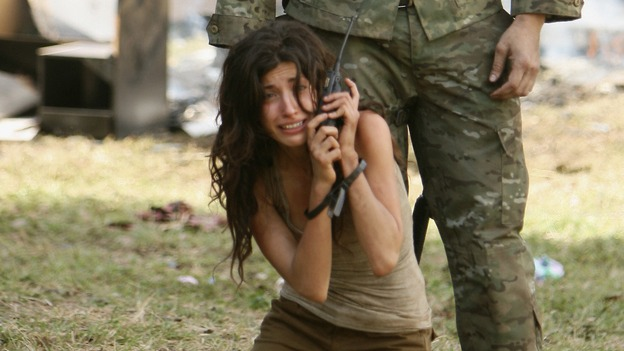 "LOST - ""The Shape of Things to Come"" - Locke's camp comes under attack, and Jack tries to discover the identity of a body that has washed ashore, on ""Lost,"" THURSDAY, APRIL 24 (10:01-11:00 p.m., ET) on the ABC Television Network. (ABC/MARIO PEREZ)TANIA RAYMONDE, KEVIN DURAND"