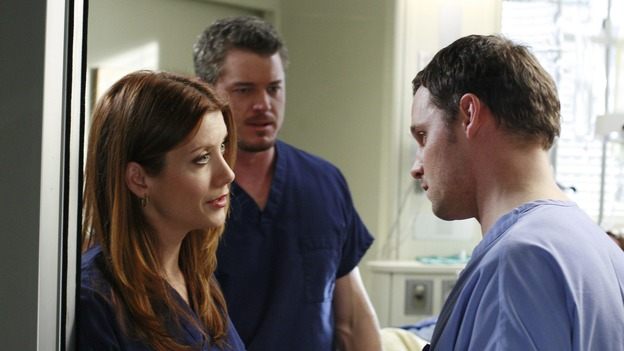 "GREY'S ANATOMY - ""Some Kind of Miracle"" - One person's fight to live affects everyone at Seattle Grace, in the dramatic conclusion to ""Grey's Anatomy's"" three-episode story arc. ""Some Kind of Miracle"" airs THURSDAY, FEBRUARY 22 (9:00-10:01 p.m., ET) on the ABC Television Network. Elizabeth Reaser (Independent Spirit Award nominee for ""Sweet Land"") guest stars as a patient. (ABC/RON TOM)KATE WALSH, ERIC DANE, JUSTIN CHAMBERS"