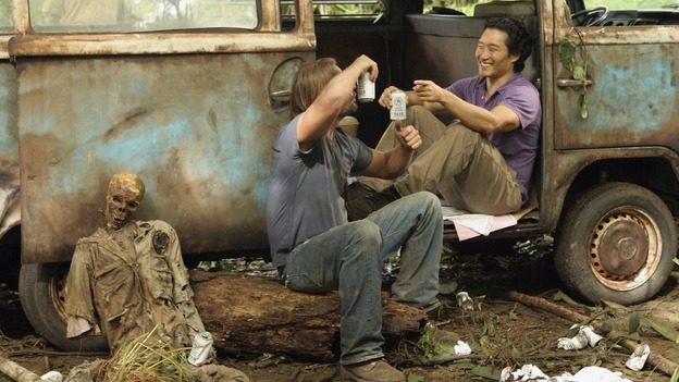 "LOST - ""Tricia Tanaka Is Dead"" - Hurley's discovery of an old, wrecked car on the island leads him on a mission of hope not only for himself, but for a fellow survivor in need of some faith. Meanwhile, Kate and Sawyer reunite with their fellow castaways, but Kate is still torn about leaving Jack behind with ""The Others,"" on ""Lost,"" WEDNESDAY, FEBRUARY 28 (10:00-10:00 p.m., ET), on the ABC Television Network. (ABC/MARIO PEREZ)JOSH HOLLOWAY, DANIEL DAE KIM"