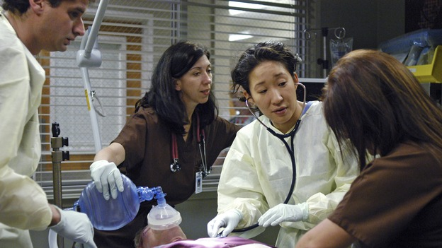 "GREY'S ANATOMY - In the first hour of part two of the season finale of ABC's ""Grey's Anatomy"" -- ""Deterioration of the Fight or Flight Response"" -- Izzie and George attend to Denny as the pressure increases to find him a new heart, Cristina suddenly finds herself in charge of an ER, and Derek grapples with the realization that the life of a friend is in his hands. In the second hour, ""Losing My Religion,"" Richard goes into interrogation mode about a patient's condition, Callie confronts George about his feelings for her, and Meredith and Derek meet about Doc. Part two of the season finale of ""Grey's Anatomy"" airs MONDAY, MAY 15 (9:00-11:00 p.m., ET) on the ABC Television Network. (ABC/GALE ADLER)SANDRA OH"