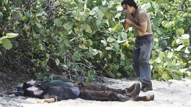 "LOST -  ""This Place is Death"" - Jin discovers the bodies of two of the French scientists, who both appear to have been shot, on ""Lost,"" WEDNESDAY, FEBRUARY 11 (9:00-10:02 p.m., ET) on the ABC Television Network.  (ABC/MARIO PEREZ) DANIEL DAE KIM"