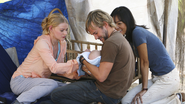 "LOST - ""The Greater Good"" - Charlie, Claire, Sun and baby Aaron. After burying one of their own, tempers flare as the castaways' suspicions of each other grow, on ""Lost,"" THURSDAY, MAY 4 on the ABCTelevision Network. (ABC/MARIO PEREZ) DOMINIC MONAGHAN EMILIE DE RAVIN, DOMINIC MONAGHAN, YUNJIN KIM"