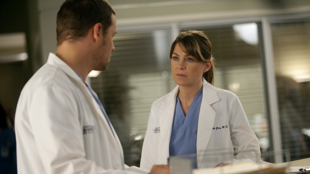 "GREY'S ANATOMY - ""Unaccompanied Minor"" - News of Meredith's dishonesty in the clinical trial comes to light, leading to unanticipated consequences for both her and others. Cristina finds herself in a compromising situation, which forces her to decide between her career and her relationship. Meanwhile, Owen posts his decision for chief resident and Teddy makes a surprising choice regarding her love life -- and her future -- on the Season Finale of Grey's Anatomy, THURSDAY, MAY 19 (9:00-10:01 p.m., ET) on the ABC Television Network. (ABC/RANDY HOLMES)JUSTIN CHAMBERS, ELLEN POMPEO"