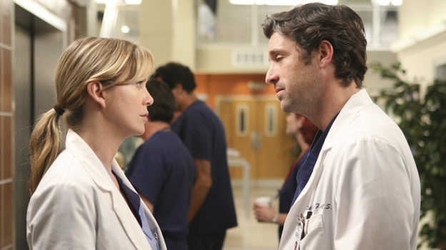 "GREY'S ANATOMY - ""Here Comes the Flood"" - Things get tense between Meredith and Derek when Derek plans to kick Alex and Izzie out of the house, on ""Grey's Anatomy,"" THURSDAY, OCTOBER 9 (9:00-10:01 p.m., ET) on the ABC Television Network. (ABC/DANNY FELD) ELLEN POMPEO, PATRICK DEMPSEY"