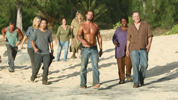 LOST - Awarded the 2005 Emmy and 2006 Golden Globe for Best Drama Series, &quot;Lost&quot; returns for its fifth season of action-packed mystery and adventure -- that will continue to bring out the very best and the very worst in the people who are lost, WEDNESDAY, JANUARY 21 (9:00-11:00 p.m., ET) on the ABC Television Network. In the first part of the season premiere, entitled &quot;Because You Left,&quot; the remaining island survivors start to feel the effects of the aftermath of moving the island, and Jack and Ben begin their quest to reunite the Oceanic 6 in order to return to the island with Locke's body in an attempt to save their former fellow castaways. (ABC/MARIO PEREZ)ELIZABETH MITCHELL, KEN LEUNG, JOSH HOLLOWAY, L. SCOTT CALDWELL, SAM ANDERSON