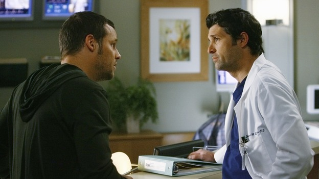 "GREY'S ANATOMY - ""Here's to Future Days"" - Alex asks Derek what he would do if Meredith were sick and a risky surgery was the only thing that could save her, on ""Grey's Anatomy,"" THURSDAY, MAY 14 (9:00-11:00 p.m., ET) on the ABC Television Network. JUSTIN CHAMBERS, PATRICK DEMPSEY"