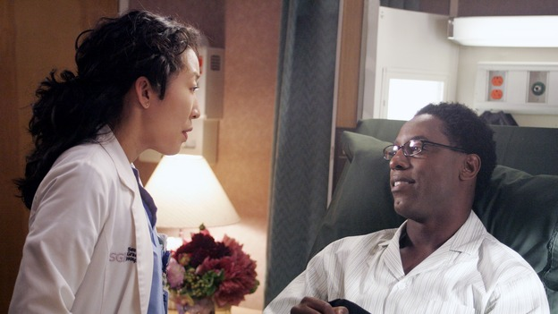 "GREY'S ANATOMY - ""I Am a Tree"" - Cristina meets Burke's parents -- and in the most awkward of circumstances -- the interns campaign for Izzie's reinstatement to the surgical intern program, Addison takes a break from her hospital duties, and a surgical patient lives what may be her last day to the fullest, on ""Grey's Anatomy,"" THURSDAY, SEPTEMBER 28 (9:00-10:01 p.m., ET) on the ABC Television Network. (ABC/VIVIAN ZINK)SANDRA OH, ISAIAH WASHINGTON"