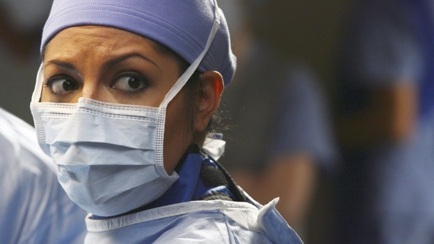 "GREY'S ANATOMY - ""Great Expectations"" - While rumors of the Chief's departure spread among the hospital staff, Bailey proposes the creation of a free clinic, and a Seattle Grace doctor receives a proposal of a different sort, on ""Grey's Anatomy,"" THURSDAY, JANUARY 25 (9:00-10:01 p.m., ET) on the ABC Television Network. (ABC/SCOTT GARFIELD)SARA RAMIREZ"