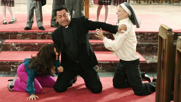 Having Nun of That It has to bad karma to get into a catfight with a nun in a church, but when it comes to Carlos, Gaby will always fight for her man.