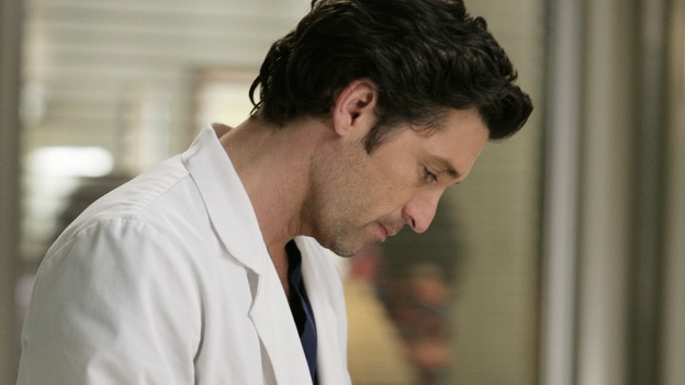 "GREY'S ANATOMY - ""Losing My Mind"" - Dr. Wyatt refuses to let Meredith give up on therapy, Alex learns the truth about Rebecca's medical condition, the Chief insists that Erica perform a risky surgery on his mentor, and after receiving news of Burke, Cristina continues to do things contrary to her nature, going so far as cleaning her always-messy apartment, on ""Grey's Anatomy,"" THURSDAY, MAY 15 (9:00-10:02 p.m., ET) on the ABC Television Network. (ABC/MITCH HADDAD)PATRICK DEMPSEY"