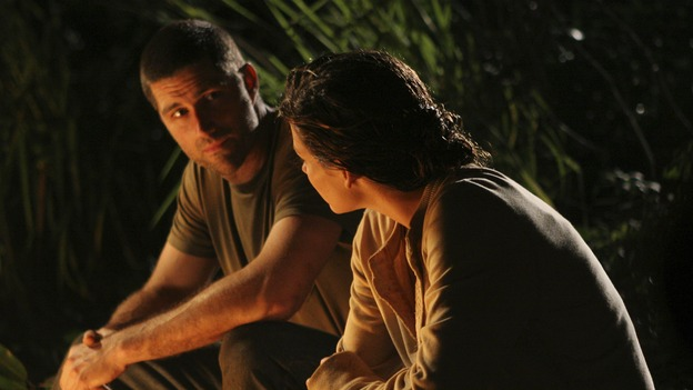 LOST -- &quot;S.O.S.&quot; - Rose is surprisingly and vehemently opposed to Bernard's plan to create an S.O.S. signal; romantic sparks are rekindled between Jack and Kate when they trek into the jungle to propose a &quot;trade&quot; with &quot;The Others&quot;; and Locke begins to question his faith in the island, on &quot;Lost,&quot; WEDNESDAY, APRIL 12 (9:00-10:01 p.m., ET), on the ABC Television Network. (ABC/MARIO PEREZ)MATTHEW FOX, EVANGELINE LILLY