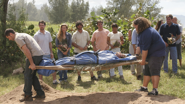 "LOST - ""The Greater Good"" - After burying one of their own, tempers flare as the castaways' suspicions of each other grow, on ""Lost,"" THURSDAY, MAY 4 on the ABC Television Network. (ABC/MARIO PEREZ) DOMINIC MONAGHAN MATTHEW FOX, JORGE GARCIA"