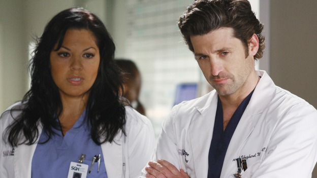 "GREY'S ANATOMY - ""These Ties That Bind"" - Callie and Derek check on a patient, on ""Grey's Anatomy,"" THURSDAY, NOVEMBER 13 (9:00-10:01 p.m., ET) on the ABC Television Network. (ABC/RON TOM) SARA RAMIREZ, PATRICK DEMPSEY"