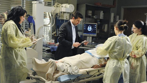 "GREY'S ANATOMY - ""Valentine's Day Massacre"" -- It's Valentine's Day, and the doctors must treat dozens of injured people after the roof collapses at a popular romantic restaurant; Derek tries to manage his busy schedule as Chief of Surgery; Meredith wrestles with her new duties as the Chief's wife; and Mark and Callie team up to convince Sloan to do the right thing for her baby, on ""Grey's Anatomy,"" THURSDAY, FEBRUARY 11 (9:00-10:01 p.m., ET) on the ABC Television Network. (ABC/ERIC MCCANDLESS)SARA RAMIREZ, PATRICK DEMPSEY"