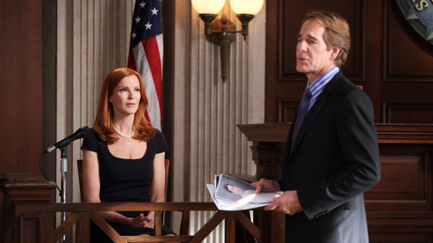 "DESPERATE HOUSEWIVES - ""The People Will Hear"" - In the penultimate episode leading into the two-hour finale of this landmark series, as her trial nears, Bree begins to fall for her attorney, Trip (Scott Bakula); Susan becomes concerned when Julie doubts Porter's commitment to be a hands-on father to their unborn baby; as Tom gets closer to being transferred to India for his job - thanks to Lynette - she begins to have second thoughts and tries to convince his boss to rescind the move; and the ladies are shocked about Gaby's nonchalant attitude as Bree continues to stand trial and take the fall for Carlos in the murder of Alejandro, on ""Desperate Housewives,"" SUNDAY, MAY 6 (9:01-10:01 p.m., ET) on the ABC Television Network. (ABC/DANNY FELD)MARCIA CROSS, SCOTT BAKULA"