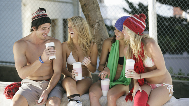 "THE BACHELOR - ""Episode 1603"" - Ben surprises 11 of the women by taking them skiing for the day. They don't realize that he has shut down a San Francisco street in the middle of the city and covered it with snow for their adventure. The ladies strip down to bikinis and hit the slope. The competition for Ben's rose continues to be fierce at the after party, but one emotional bachelorette crashes the festivities to give Ben some very unexpected news. She declines the one-on-one date invitation he extended to her. The moment is a real gut-check for Ben and causes him to question everything, on ""The Bachelor,"" MONDAY, JANUARY 16 (8:00-10:01 p.m., ET), on the ABC Television Network. (ABC/RON KOEBERER)BEN FLAJNIK, SAMANTHA, KACIE, JACLYN"