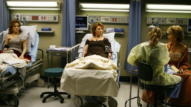 "GREY'S ANATOMY - ""Dream a Little Dream of Me"" - On the two-hour season premiere of ""Grey's Anatomy,"" Meredith and Derek learn that ""happily ever after"" isn't easy, a military doctor who brings in a trauma patient catches Cristina's eye, and the Chief and his staff reel at the news that Seattle Grace is no longer nationally ranked as a top-tier teaching hospital, on ""Grey's Anatomy,"" THURSDAY, SEPTEMBER 25 (9:00-11:00 p.m., ET) on the ABC Television Network. (ABC/SCOTT GARFIELD)BERNADETTE PETERS, ELLEN POMPEO, MARIETTE HARTLEY, KATHY BAKER"