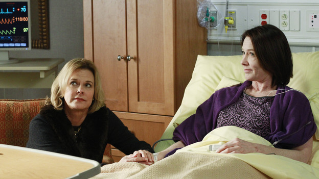 "PRIVATE PRACTICE - ""Heaven Can Wait"" - Addison plans Bizzy and Susan's wedding while trying to keep her distance from the overly flirtatious Dr. Rodriquez. Sam is concerned about the care his longtime patient is receiving, and Sheldon refers Charlotte to his mentor and friend for psychiatric help, on ""Private Practice,"" THURSDAY, JANUARY 13 (10:01-11:00 p.m., ET) on the ABC Television Network. (ABC/RON TOM)JOBETH WILLIAMS, ANN CUSACK"