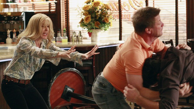 "DESPERATE HOUSEWIVES - ""Hello, Little Girl"" - Tom and Rick fight over Lynette. SUNDAY, APRIL 27 (9:00-10:02 p.m., ET) on the ABC Television Network. (ABC/RON TOM) FELICITY HUFFMAN, DOUG SAVANT, JASON GEDRICK"