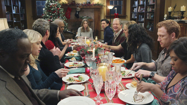 "GREY'S ANATOMY - ""Holidaze"" -- As Thanksgiving, Christmas and New Year's pass, Miranda is visited by her father, William, who disapproves of her choices in life; meanwhile, Mark and Lexie must cope with the shocking arrival of a woman from his past, and Thatcher Grey questions the Chief's recent behavior as Meredith comes to his defense, on ""Grey's Anatomy,"" THURSDAY, NOVEMBER 19 (9:00-10:01 p.m., ET) on the ABC Television Network. (ABC/DANNY FELD)FRANKIE FAISON, LEVEN RAMBIN, ERIC DANE, CHYLER LEIGH, JAMES PICKENS JR., ELLEN POMPEO, PATRICK DEMPSEY, JEFF PERRY, KIM RAVER,  SANDRA OH, KEVIN MCKIDD, CHANDRA WILSON"