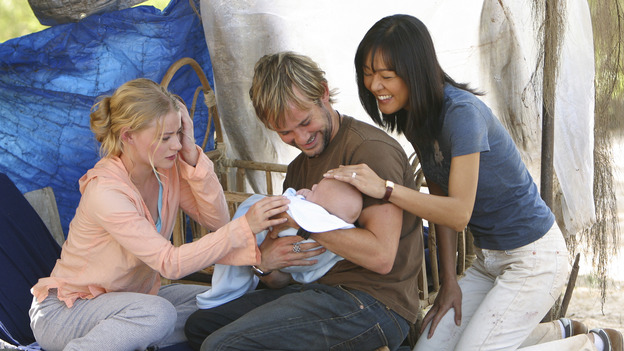"LOST - ""The Greater Good"" - Charlie, Claire, Sun and baby Aaron. After burying one of their own, tempers flare as the castaways' suspicions of each other grow, on ""Lost,"" THURSDAY, MAY 4 on the ABC Television Network. (ABC/MARIO PEREZ) DOMINIC MONAGHAN EMILIE DE RAVIN, DOMINIC MONAGHAN, YUNJIN KIM"
