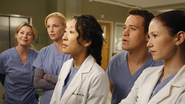"GREY'S ANATOMY - ""The Becoming"" - The nurses' objections to McSteamy's trysts lead to the instating of a new ""date and tell"" policy. Meanwhile news of Burke's latest career achievements force Cristina to face her feelings for her ex, Meredith and Derek admit a veteran soldier into their clinical trial, and Callie turns to Sloan in her time of need, on ""Grey's Anatomy,"" THURSDAY, MAY 8 (9:00-10:02 p.m., ET) on the ABC Television Network.  (ABC/VIVIAN ZINK)ELLEN POMPEO, KATHERINE HEIGL, SANDRA OH, T.R. KNIGHT, CHYLER LEIGH"