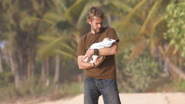 "LOST - ""The Greater Good"" - Charlie and baby Aaron. After burying one of their own, tempers flare as the castaways' suspicions of each other grow, on ""Lost,"" THURSDAY, MAY 4 on the ABC Television Network. (ABC/MARIO PEREZ) DOMINIC MONAGHAN"