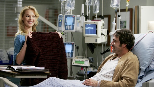 GREY'S ANATOMY - &quot;Name of the Game&quot; - George begins to overstay his welcome at Burke's apartment; Meredith learns a secret about her father; Bailey worries her colleagues will not treat her the same now that she's a mother; and Alex gets a lesson in bedside manners, on &quot;Grey's Anatomy,&quot; SUNDAY, APRIL 2 (10:00-11:00 p.m., ET) on the ABC Television Network. (ABC/PETER &quot;HOPPER&quot; STONE)KATHERINE HEIGL, JEFFREY DEAN MORGAN