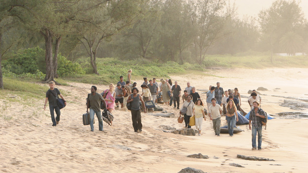 LOST - &quot;Whatever the Case May Be&quot; - Jack, Kate and Sawyer fight over possession of a newly discovered locked metal briefcase which might contain insights into Kate's mysterious past. Meanwhile, Sayid asks a reluctant Shannon to translate notes he took from the French woman, a rising tide threatens to engulf the fuselage and the entire beach encampment, and Rose and a grieving Charlie tentatively bond over Claire's baffling disappearance, on &quot;Lost,&quot; WEDNESDAY, JANUARY 5 (8:00-9:00 p.m., ET), on the ABC Television Network.  (ABC/MARIO PEREZ)DOMINIC MONAGHAN, HARROLD PERRINEAU, MAGGIE GRACE, NAVEEN ANDREWS, L. SCOTT CALDWELL, JOSH HOLLOWAY, EXTRAS 