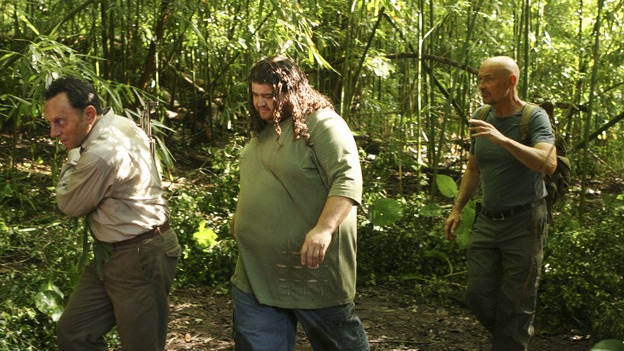 "LOST - ""Cabin Fever"" - Locke is enlightened as to the whereabouts of Jacob's cabin, and life aboard the freighter becomes perilous, on ""Lost,"" THURSDAY, MAY 8 (10:02-11:00 p.m., ET) on the ABC Television Network. (ABC/MARIO PEREZ)MICHAEL EMERSON, JORGE GARCIA, TERRY O'QUINN"