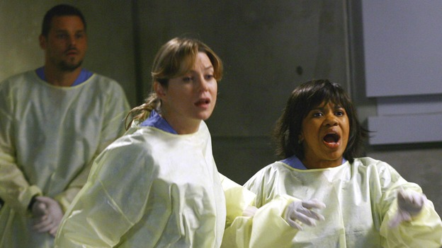 "GREY'S ANATOMY - ""Dream a Little Dream of Me"" - On the two-hour season premiere of ""Grey's Anatomy,"" Meredith and Derek learn that ""happily ever after"" isn't easy, a military doctor who brings in a trauma patient catches Cristina's eye, and the Chief and his staff reel at the news that Seattle Grace is no longer nationally ranked as a top-tier teaching hospital, on ""Grey's Anatomy,"" THURSDAY, SEPTEMBER 25 (9:00-11:00 p.m., ET) on the ABC Television Network. (ABC/SCOTT GARFIELD)JUSTIN CHAMBERS, ELLEN POMPEO, CHANDRA WILSON"