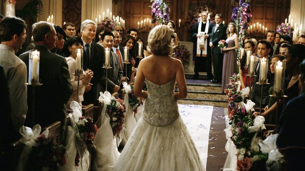 "GREY'S ANATOMY - ""What a Difference a Day Makes"" - Here comes the bride! Izzie Stevens walks down the aisle, on ""Grey's Anatomy,"" THURSDAY, MAY 7 (9:00-10:02 p.m., ET) on the ABC Television Network. KATHERINE HEIGL, SANDRA OH, MICKEY MAXWELL, JUSTIN CHAMBERS, ELLEN POMPEO"