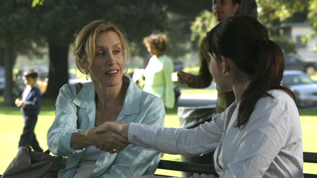 DESPERATE HOUSEWIVES - &quot;Suspicious Minds&quot; -- Looking to give her life a purpose, Gabrielle decides to organize a glamorous Halston fashion show for charity highlighting the ladies of Wisteria Lane. But Susan is less than charitable toward her friend when she discovers Gabrielle's shocking secret. Meanwhile, Lynette uses her business acumen to poach a nanny, and Bree decides to take Andrew's out-of-control behavior into her own hands, on &quot;Desperate Housewives,&quot; SUNDAY, XXXXXXXX (9:00-10:00 p.m., ET) on the ABC Television Network. (ABC/SCOTT GARFIELD)FELICITY HUFFMAN, MARLA SOKOLOFF