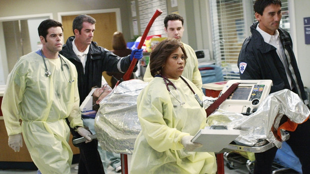 "GREY'S ANATOMY - ""I Saw What I Saw"" - After a burn victim unexpectedly dies in the midst of a chaotic ER, the Chief and board member Jennings interrogate the residents to find the culprit, as all the Mercy West and Seattle Grace resident defends their actions in an effort to save their jobs, on ""Grey's Anatomy,"" THURSDAY, OCTOBER 22 (9:00-10:01 p.m., ET) on the ABC Television Network. (ABC/RON TOM)ROBERT BAKER, CHANDRA WILSON"