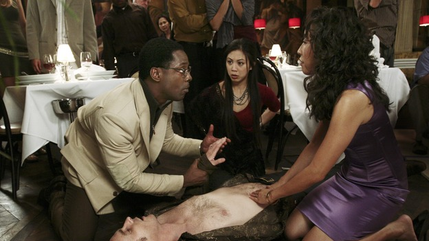"GREY'S ANATOMY - ""Let It Be"" (ABC/SCOTT GARFIELD)ISAIAH WASHINGTON, KAI LENNOX, BRITTANY ISHIBASHI, SANDRA OH"