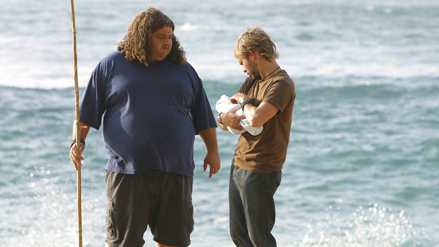 "LOST - ""The Greater Good"" - Hurley, Charlie and baby Aaron. After burying one of their own, tempers flare as the castaways' suspicions of each other grow, on ""Lost,"" THURSDAY, MAY 4 on the ABC Television Network. (ABC/MARIO PEREZ) JORGE GARCIA, DOMINIC MONAGHAN"