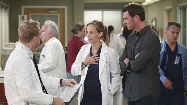 "GREY'S ANATOMY - ""Put Me In, Coach"" - Owen stresses teamwork and moves his leadership role over to the baseball field when he signs the doctors up for a baseball league, pitting them against their biggest competition, Seattle Presbyterian; Lexie tries to hide her jealous rage when she sees Mark with a new woman, but her emotions get the better of her; Alex fights to keep Zola at Seattle Grace after it is suggested that she be moved to another hospital due to a conflict of interest with Meredith and Derek; and Richard scolds Meredith and Bailey for their feud, on Grey's Anatomy, THURSDAY, OCTOBER 27 (9:00-10:02 p.m., ET) on the ABC Television Network. (ABC/RICHARD CARTWRIGHT)KEVIN MCKIDD, KIM RAVER, SCOTT FOLEY"
