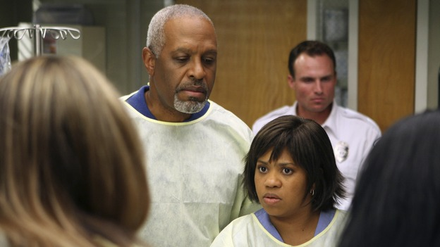 "GREY'S ANATOMY - ""Freedom"" - On the two-hour season finale of ""Grey's Anatomy,"" Meredith and Derek have one last shot at a successful outcome in their clinical trial, as the other surgeons work together to free a boy from a hardening block of cement. Meanwhile, Izzie helps Alex care for an ailing Rebecca, and Lexie discovers critical information about George's intern status, on ""Grey's Anatomy,"" THURSDAY, MAY 22 (9:00-11:00 p.m., ET) on the ABC Television Network. (ABC/MICHAEL DESMOND)BROOKE SMITH, JAMES PICKENS JR., CHANDRA WILSON"