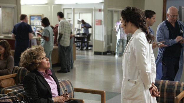 "GREY'S ANATOMY - ""Love/Addiction"" - The residents and interns treat the victims of a massive explosion at an apartment building, while Alex investigates the cause of the accident, Mama Burke returns to collect her son's things just as Cristina trades her wedding presents in exchange for surgeries, Lexie tries to have a heart-to-heart with an unwilling Meredith, and while Callie is overwhelmed with her duties as Chief Resident, Bailey searches for an outlet for her pent-up leadership skills, on ""Grey's Anatomy,"" THURSDAY, OCTOBER 4 (9:00-10:01 p.m., ET) on the ABC Television Network. (ABC/CRAIG SJODIN)DIAHANN CARROLL, SANDRA OH"