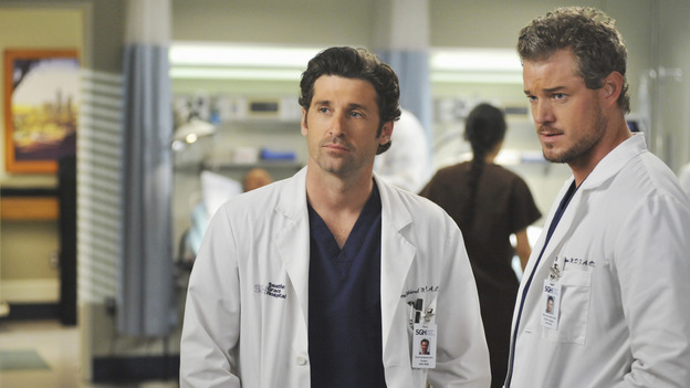 GREY'S ANATOMY - &quot;Life During Wartime&quot; - Derek and Mark discuss the new chief of trauma, Owen Hunt, on &quot;Grey's Anatomy,&quot; THURSDAY, OCTOBER 30 (9:00-10:01 p.m., ET) on the ABC Television Network. (ABC/ERIC MCCANDLESS) PATRICK DEMPSEY, ERIC DANE