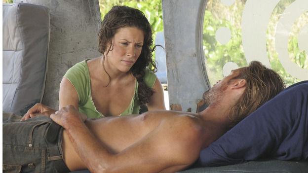 "LOST - ""Confidence Man"" - When Shannon suffers an asthma attack, Jack and Sayid realize brutality might be the only way to convince Sawyer to relinquish the life-saving medicine heÕs hoarding. Meanwhile, Sun struggles to decide if she'll obey husband Jin's orders to stay out of othersÕ affairs, and Kate uncovers some shocking secrets about Sawyer, on ""Lost,"" WEDNESDAY, NOVEMBER 10 (8:00-9:00 p.m., ET), on the ABC Television Network. (ABC/MARIO PEREZ) EVANGELINE LILLY, JOSH HOLLOWAY"