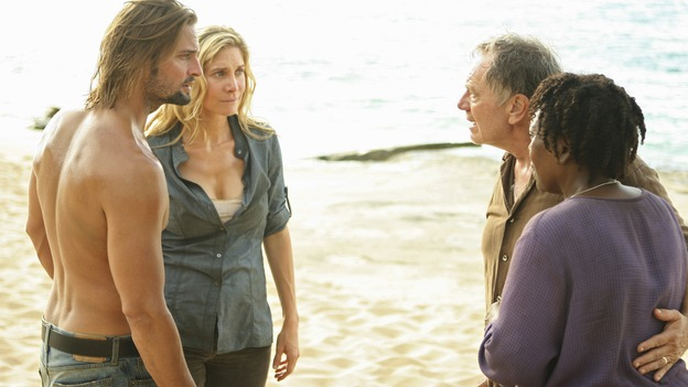 LOST - Awarded the 2005 Emmy and 2006 Golden Globe for Best Drama Series, &quot;Lost&quot; returns for its fifth season of action-packed mystery and adventure -- that will continue to bring out the very best and the very worst in the people who are lost, WEDNESDAY, JANUARY 21 (9:00-11:00 p.m., ET) on the ABC Television Network. In the first part of the season premiere, entitled &quot;Because You Left,&quot; the remaining island survivors start to feel the effects of the aftermath of moving the island, and Jack and Ben begin their quest to reunite the Oceanic 6 in order to return to the island with Locke's body in an attempt to save their former fellow castaways. (ABC/MARIO PEREZ)JOSH HOLLOWAY, ELIZABETH MITCHELL, SAM ANDERSON, L. SCOTT CALDWELL