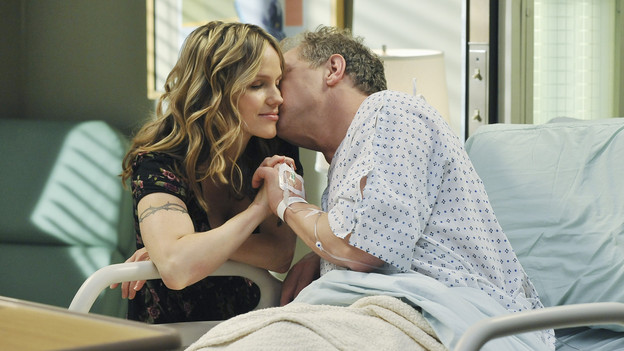 "GREY'S ANATOMY - ""P.Y.T. (Pretty Young Thing)"" - Thatcher Grey, Meredith and Lexie's father, returns to Seattle Grace with stomach pains and a new, twenty-something tattooed girlfriend, Danielle. Meanwhile, Alex clashes with the new OB, Dr. Lucy Fields, over a patient and Mark places Jackson on his service in exchange for information on Lexie, on ""Grey's Anatomy,"" THURSDAY, FEBRUARY 10 (9:00-10:01 p.m., ET) on the ABC Television Network. (ABC/ERIC MCCANDLESS)ALEXA HAVINS, JEFF PERRY"